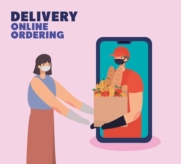 Delivery online ordening lettering and man with safety mask and one paper bag full of market products