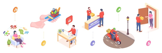 Delivery and online orders service vector isometric or flat icons of fast food in mobile phone