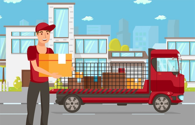 Delivery for online purchases vector illustration