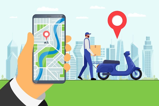Delivery online service app on smartphone screen and courier brought cargo goods package box on moped. gps pin on city map with motor scooter shipping order location. vector express logistics