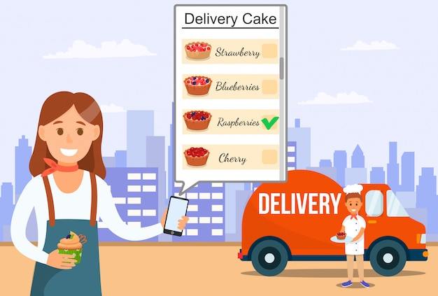 Delivery online service of sweet cakes and tarts.