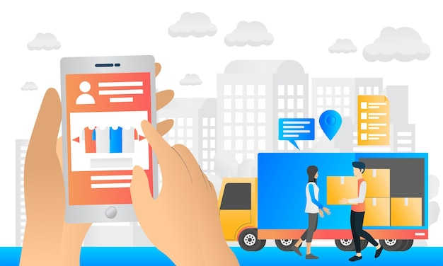 Delivery order illustration in modern flat style