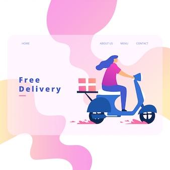 Delivery order landing page vector design
