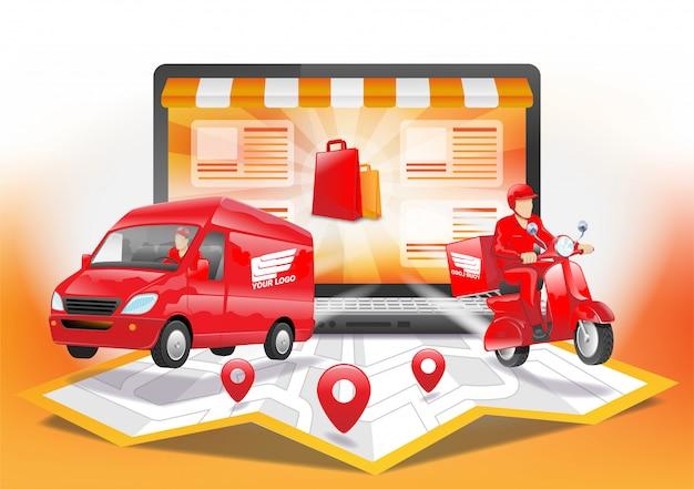 Доставка заказа покупки онлайн с компьютерным ноутбуком