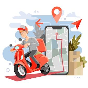 配信パッケージのコンセプト。マップまたはgpsを使用したオートバイの配送。ベクトルとイラスト。