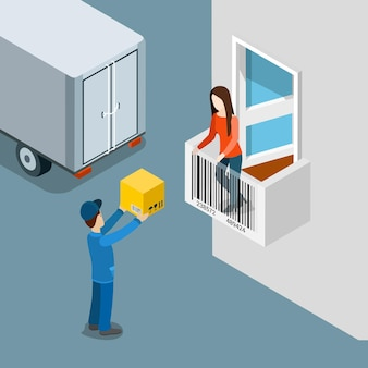 Delivery package to home door flat isometric