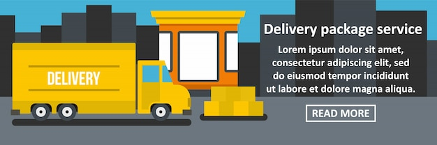 Delivery package service banner horizontal concept