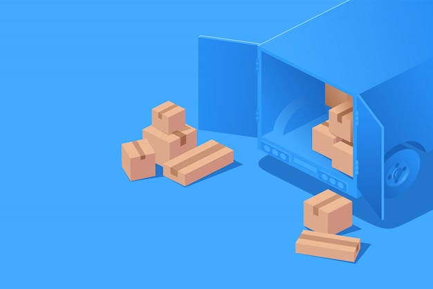 Delivery package on truck or van. concept delivery isometric