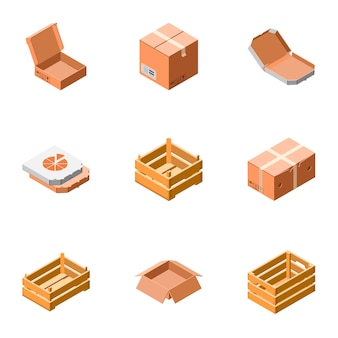 Delivery packing box icon set. isometric set of 9 delivery packing box icons