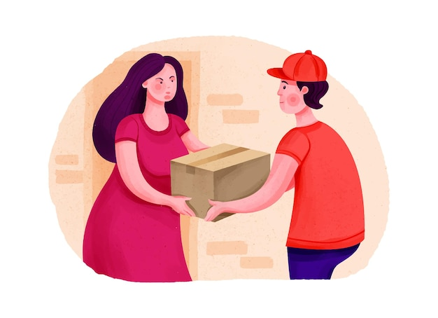 宅配便で荷物を受け取る女性のドアへの配達小包注文輸送