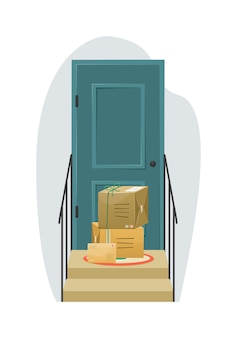 Delivery of parcels to the recipient's door concept illustration