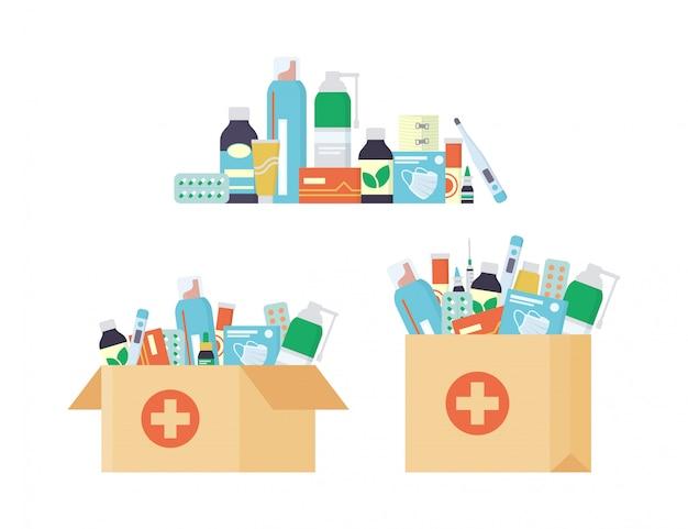 Доставка в аптеку, сервис. открытая картонная коробка и бумажный пакет с набором лекарств, таблеток и бутылочек внутри.