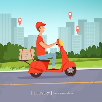 Delivery pizza background. fresh food fast delivery man red motorcycle perfect business service urban landscape.  picture