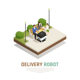 Delivery pizza by driverless robotic transport for family staying at outdoor isometric composition