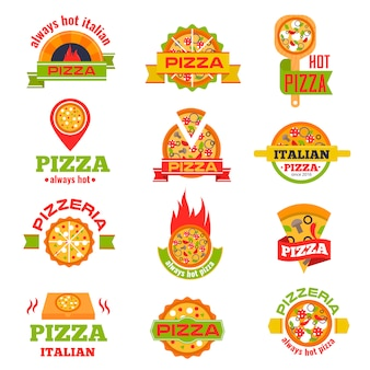 Delivery pizza logo badge set vector illustration.