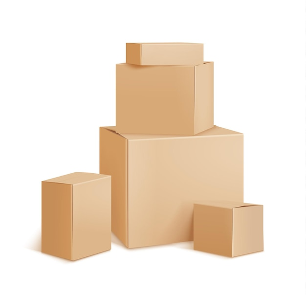 Delivery plain cardboard boxes