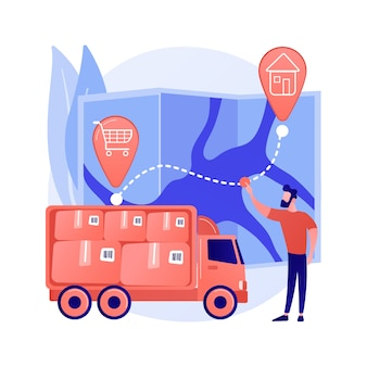Delivery point abstract concept vector illustration. delivery point validation, courier driver app, shipping company, post office, tracking application, pick up parcel abstract metaphor.