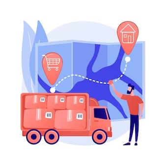 배달 지점 추상적 인 개념 벡터 일러스트입니다. 배달 지점 확인, 택배 드라이버 앱, 배송 회사, 우체국, 추적 응용 프로그램, 소포 추상 은유 픽업.