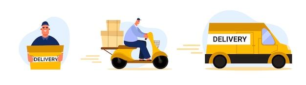 配信プロセス。オートバイの宅配便。男は小包を届けた。車の配達サービス
