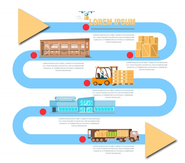 Delivery process from warehouse by truck banner