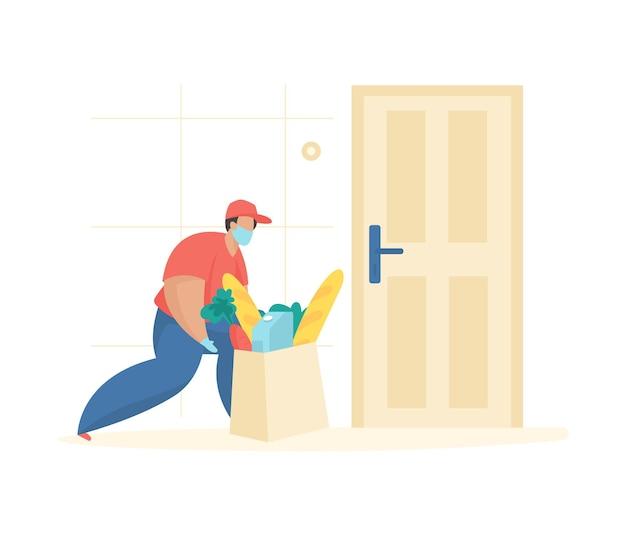 配達商品顧客アパートマスクの男性キャラクターがドアの近くにバッグフードを置きます