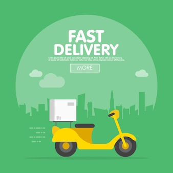 Delivery ride scooter motorcycle city building background flat vector illustration.