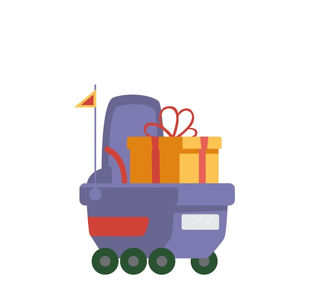 Delivery robot dringing gift box flat vector illustration. isolated on white.