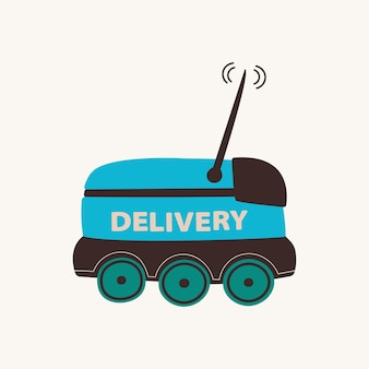 Delivery robot unmanned delivery service on wheels smart bot for transporting food and goods