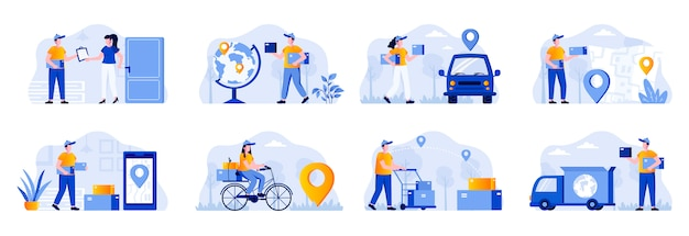 Delivery scenes bundle with people characters. online order and couriers delivery at home, global shipping and local distribution, logistics situations. express delivery flat illustration.