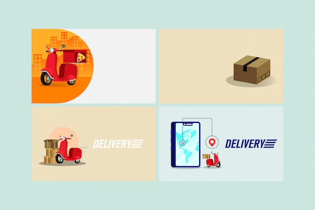 Delivery scooter motorcycle in smartphone technology Premium Vector