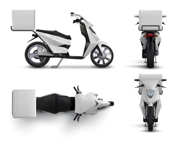 配達スクーター。食べ物や飲み物のための空白のバッグ、白いボックス付きのレストランやカフェの宅配バイクを備えたリアルなオートバイ。異なる位置に設定されたベクトルイラストバイク