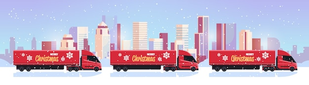 Delivery semi trucks driving city street shipping transport for merry christmas happy new year winter holidays celebration concept  snowy cityscape background flat