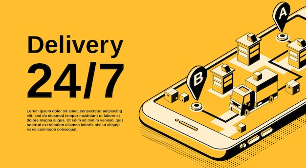 Delivery service 24 7 illustration of logistics shipping tracking technology.