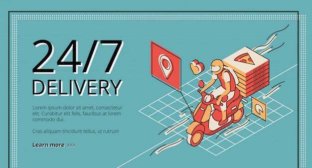 Servizio di consegna 24/7 pagina di destinazione retro colorata. scooter di guida del corriere con scatole di pizza.