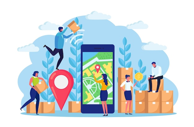Delivery service app on mobile phone. telephone with map on screen and couries