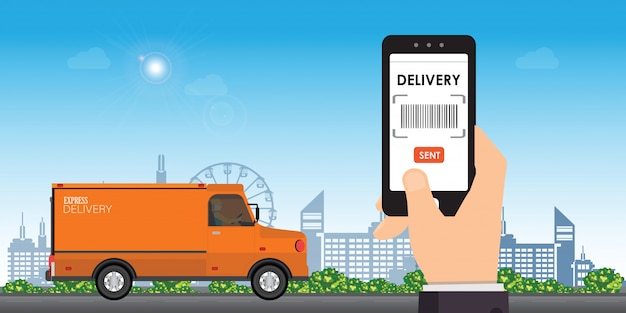 Delivery service app on smart phone.
