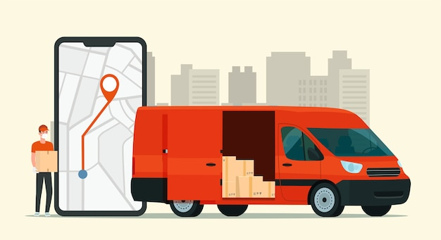 Delivery service app on smartphone. cargo van and delivery worker.