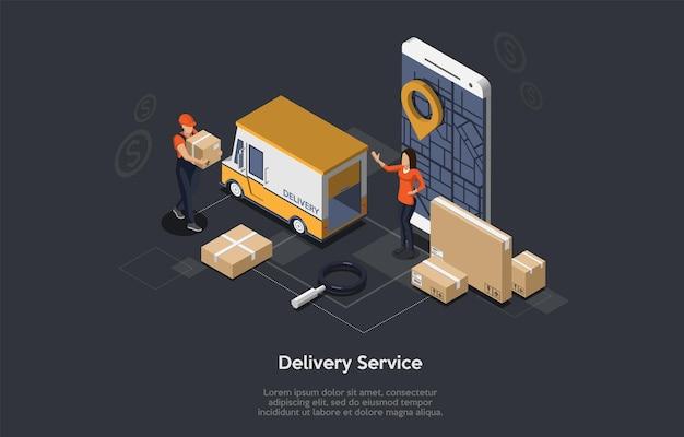 Приложение службы доставки с фургоном, мобильным телефоном, курьером и покупателем. плоский стиль.