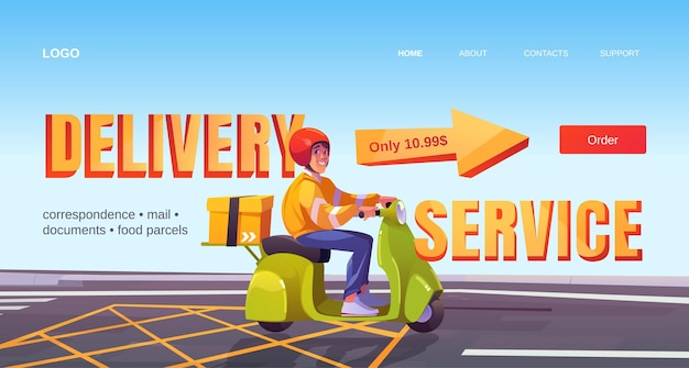 Delivery service banner. shipping parcels, documents and orders from restaurant or store.
