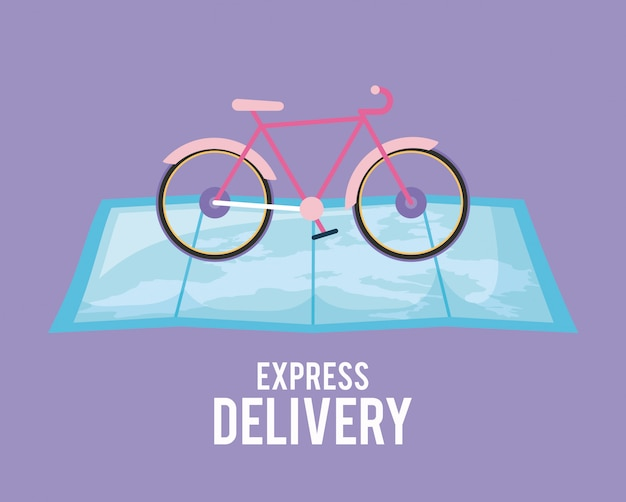 Delivery service bicycle in map guide
