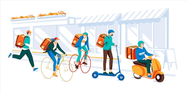 Delivery service by the different types of transport in the city concept y
