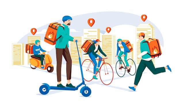 Delivery service by the different types of transport in the city delivery service concept