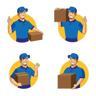 Служба доставки мультфильм дизайн талисмана