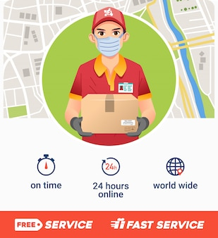 Плакат компании службы доставки с молодым человеком принести коробку как талисман и карту как иллюстрация bakground