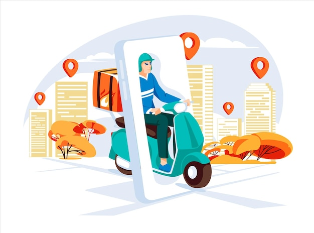 Delivery service concept by scooter with courier big smartphone city street with map points