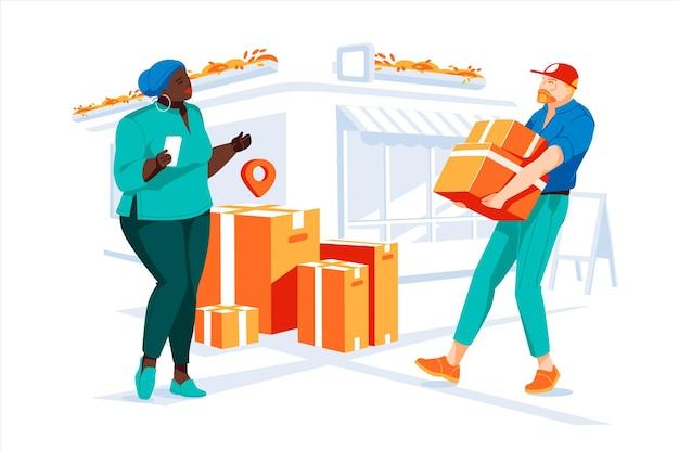 배달 서비스 개념 courier는 거리에서 흑인 여성을 위한 상자를 운반합니다.