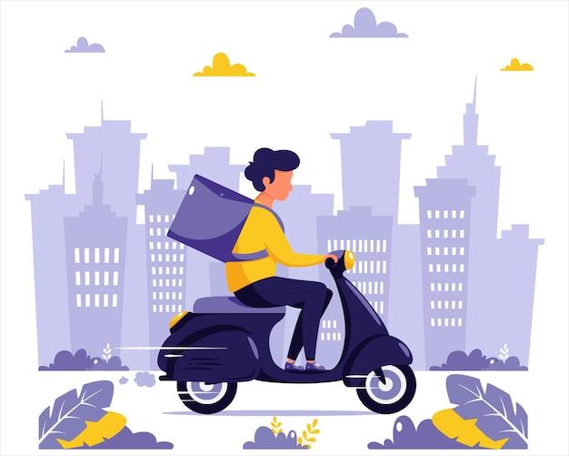 配信サービスのコンセプトです。スクーターに乗った宅配便のキャラクター。街の背景。フラットスタイルのイラスト。