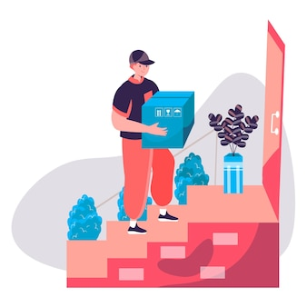 배달 서비스 개념입니다. 택배는 소포 상자를 배달하고 고객 집 문 앞에 서 있습니다. 특급 배송, 배급 캐릭터 장면. 사람들이 활동과 평면 디자인의 벡터 일러스트 레이 션
