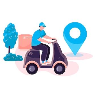 Концепция службы доставки. курьером на мотоциклах посылочный ящик до дома клиента. экспресс-доставка, распределение, логистическая сцена персонажа. векторная иллюстрация в плоском дизайне с деятельностью людей