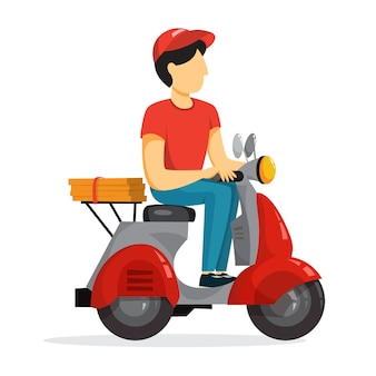 Delivery service concept. courier with pizza on moped
